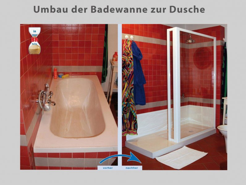 dusche statt badewanne umbau der badewanne in 8 std. Black Bedroom Furniture Sets. Home Design Ideas
